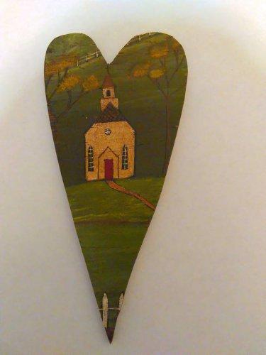 Primitive Rustic Wood Heart Cutout CHURCH Painting OOAK (EC001)