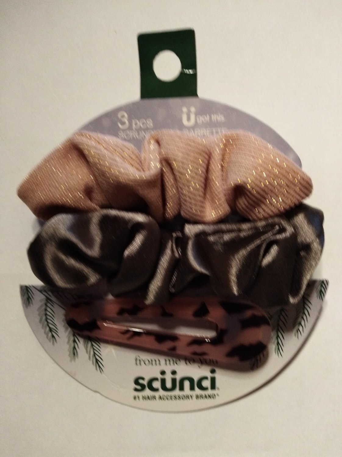Scunci From Me to You Holiday Collection 3pc Scrunchies & Barrette 34267P-LT (EC699056)
