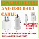 MICRO USB Data Cable DC Car Charger AC wall charger ANDROID PHONES LOT SHIP FAST