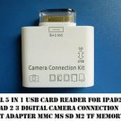 5 in 1 30 Pin USB Camera Connection Kit TF SD Card Reader Adapter ipad 1 2 3 USA