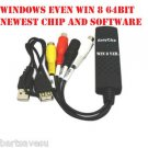 WIN  8 64BIT EasyCap RCA USB2.0 Video Capture In VCR Camcorder 8mm VHS Tape DVD
