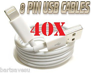 WHOLESALE 40 x 8 Pin to USB Cable Charger Data Sync iPhone 5 FAST US SHIPPER LOT