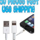 USA Bulk Wholesale 50x Lot 8Pin to USB Cable Cord Data Charger iPhone 5 5th Gen