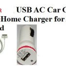 USA 1X USB AC Data Cable + Home Charger + Car Charger Apple iPhone 4 4S 3GS iPod