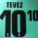 CARLOS TEVEZ 10 JUVENTUS JUVE AWAY 2013 2014 NAME NUMBER SET NAMESET PRINT