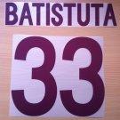 BATISTUTA 33 AS ROMA AWAY 2002 2003 NAME NUMBER SET NAMESET KIT PRINT NUMBERING