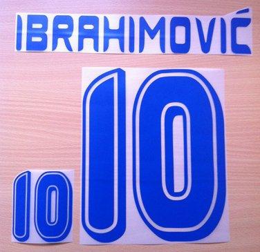 IBRAHIMOVIC' 10 SWEDEN HOME WORLD CUP 2006 NAME NUMBER SET NAMESET KIT PRINT