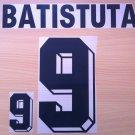 BATISTUTA 9 ARGENTINA HOME WORLD CUP 1998 NAME NUMBER SET NAMESET KIT PRINT