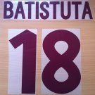 BATISTUTA 18 ROMA AWAY 2000 2002 NAME NUMBER SET NAMESET KIT PRINT NUMBERING