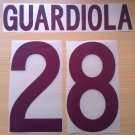 GUARDIOLA 28 AS ROMA AWAY 2002 2003 NAME NUMBER SET NAMESET KIT PRINT NUMBERING