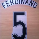 FERDINAND 5 MANCHESTER UNITED AWAY 2006 2007 NAME NUMBER SET NAMESET KIT PRINT
