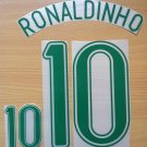 RONALDINHO 10 BRAZIL HOME WORLD CUP 2006 NAME NUMBER SET NAMESET KIT PRINT