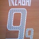 INZAGHI 9 AC MILAN HOME 2002 2004  NAME NUMBER SET NAMESET KIT PRINT RETRO