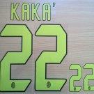 KAKA' 22 AC MILAN 2004 2007 THIRD UCL NAME NUMBER SET NAMESET KIT PRINT RETRO
