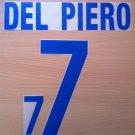 DEL PIERO 7 ITALY AWAY WORLD CUP 2002 NAME NUMBER SET NAMESET KIT PRINT