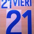 VIERI 21 ITALY AWAY WORLD CUP 2002 NAME NUMBER SET NAMESET KIT PRINT NUMBERING