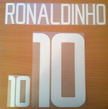 RONALDINHO 10 BRAZIL AWAY WORLD CUP 2002 NAME NUMBER SET NAMESET KIT PRINT