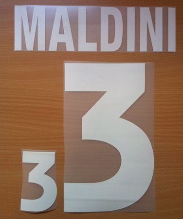 MALDINI 3 ITALY HOME EURO 2000 NAME NUMBER SET NAMESET KIT PRINT NUMBERING