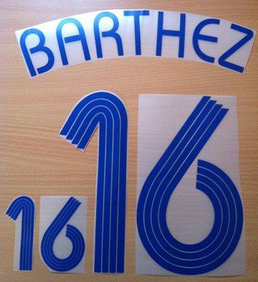 BARTHEZ 16 FRANCE AWAY WORLD CUP 2006 NAME NUMBER SET NAMESET KIT PRINT