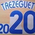 TREZEGUET 20 FRANCE AWAY WORLD CUP 2006 NAME NUMBER SET NAMESET KIT PRINT