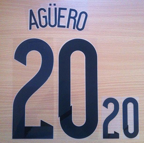 KUN AGUERO 20 ARGENTINA HOME 2014 2015 NAME NUMBER SET NAMESET KIT PRINT