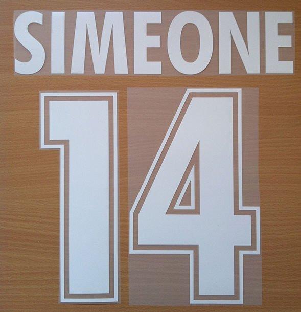 SIMEONE 14 SS LAZIO AWAY 2000 2001 NAME NUMBER SET NAMESET KIT PRINT NUMBERING