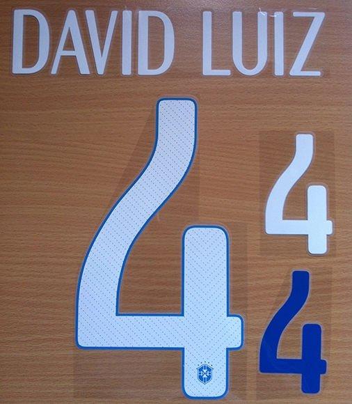 DAVID LUIZ 4 BRAZIL AWAY 2014 2015 NAME NUMBER SET NAMESET KIT PRINT WORLD CUP