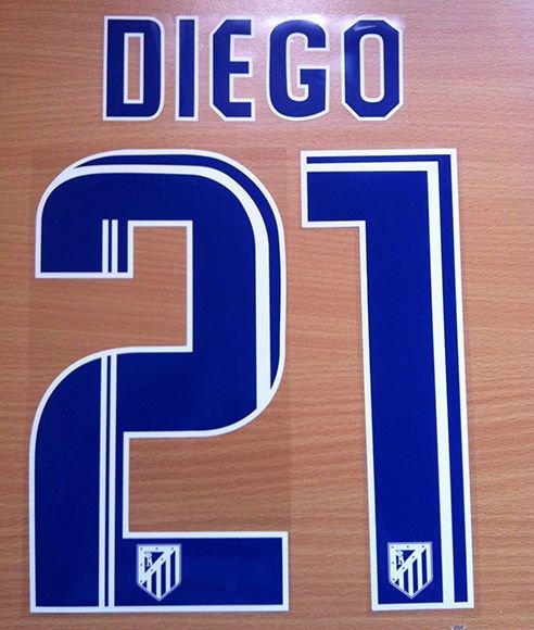 DIEGO 21 ATLETICO MADRID 2013 2014 HOME NAME NUMBER SET NAMESET KIT PRINT