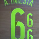 INIESTA 6 SPAIN AWAY 2014 2015 NAME NUMBER SET NAMESET KIT PRINT WORLD CUP