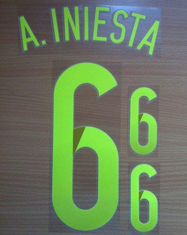 INIESTA 6 SPAIN AWAY 2014 2015 NAME NUMBER SET NAMESET KIT PRINT WORLD CUP