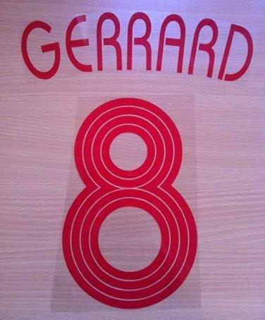 GERRARD 8 LIVERPOOL AWAY UCL 2006 2007 NAME NUMBER SET NAMESET KIT PRINT RETRO