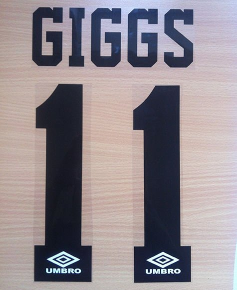 GIGGS 11 MANCHESTER UNITED AWAY 1992 1996 NAME NUMBER SET NAMESET PRINT