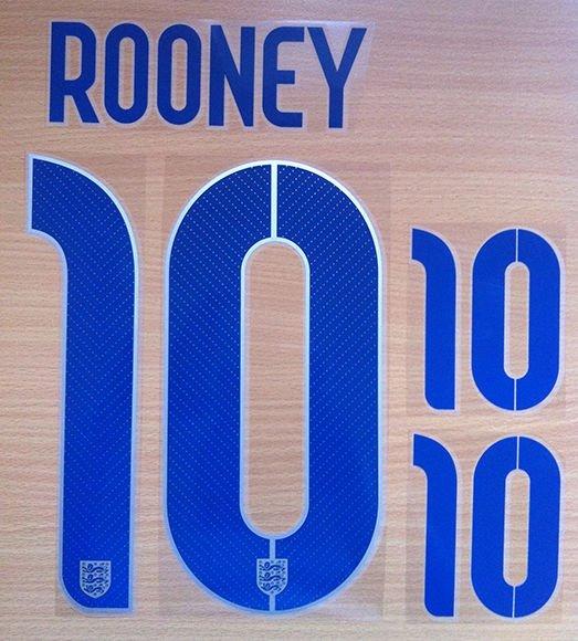 ROONEY 10 ENGLAND HOME 2014 2015 NAME NUMBER SET NAMESET KIT PRINT