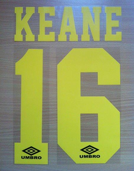 KEANE 16 MANCHESTER UNITED THIRD 1992 1996 NAME NUMBER SET NAMESET PRINT