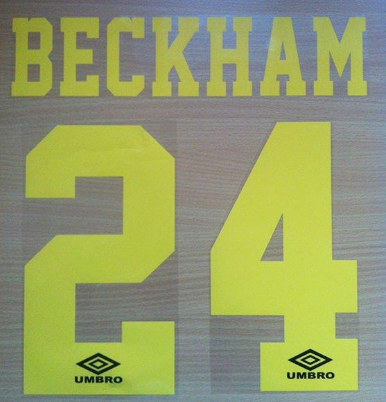 BECKHAM 24 MANCHESTER UNITED THIRD 1992 1996 NAME NUMBER SET NAMESET PRINT