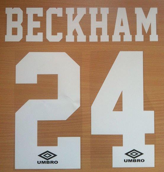 BECKHAM 24 MANCHESTER UNITED HOME 1992 1996 NAME NUMBER SET NAMESET PRINT