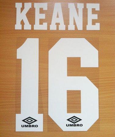 KEANE 16 MANCHESTER UNITED HOME 1992 1996 NAME NUMBER SET NAMESET PRINT