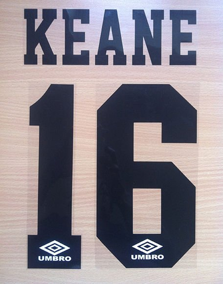 KEANE 16 MANCHESTER UNITED AWAY 1992 1996 NAME NUMBER SET NAMESET PRINT