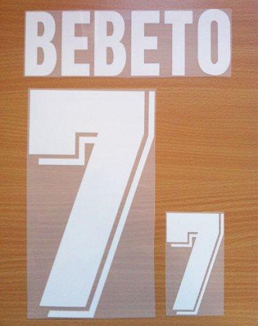 BEBETO 7 BRAZIL AWAY WORLD CUP 1994 NAME NUMBER SET NAMESET KIT PRINT NUMBERING