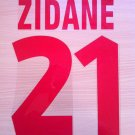 ZIDANE 21 JUVENTUS HOME 1998 1999 NAME NUMBER SET NAMESET KIT PRINT NUMBERING
