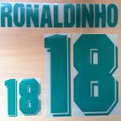 RONALDINHO 18 BRAZIL HOME OLYMPIC GAMES 1996 NAME NUMBER SET NAMESET KIT PRINT