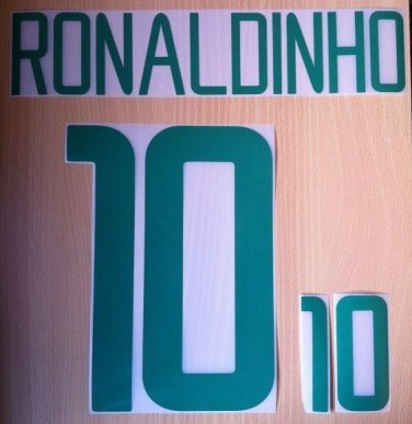 RONALDINHO 10 BRAZIL HOME WORLD CUP 2002 NAME NUMBER SET NAMESET KIT PRINT