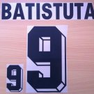 BATISTUTA 9 ARGENTINA 1999 2001 NAME NUMBER SET NAMESET KIT PRINT NUMBERING
