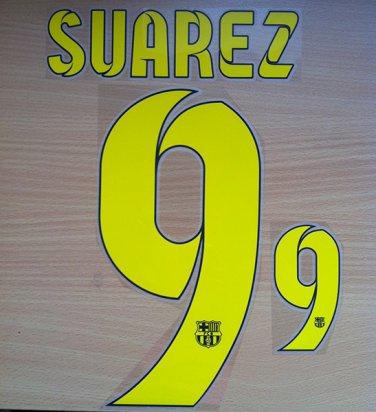 LUIS SUAREZ 9 BARCELONA HOME 2014 2015 NAME NUMBER SET NAMESET KIT PRINT