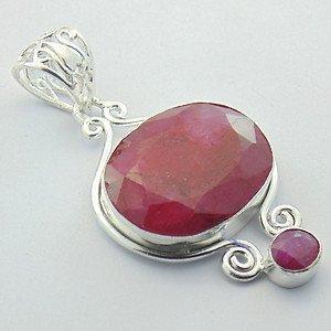 Lovely RUBY Handmade .925 Silver Jewelry Gemstone Pendant P-22 L5