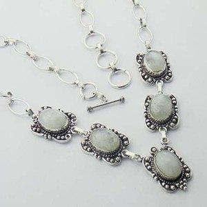 "Stunning  Rainbow Moonstone  925 Silver Jewelry Necklace 19"" Adjustable N-31L1"