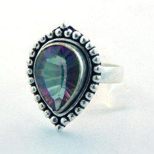 Dainty Piece Of Art  Mystic Quartz Sterling .925  Silver Ring Sz-8 R-60L5