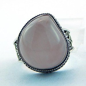 Lovely Jewelry Ring Handmade With Rose Quartz .925 Sterling Silver Sz-9.5 R-50L5