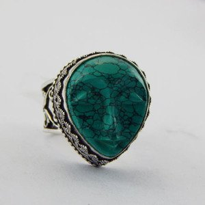 Handmade Turquoise Face Carving .925 Sterling Silver Jewelry Ring Sz-9 R-49L5