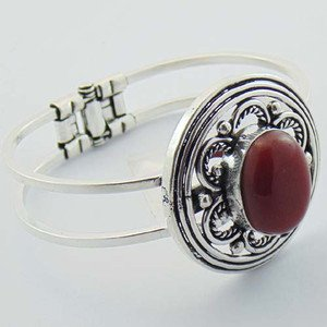 Natural Red onyx Handmade Silver Jewelry Bangle / Cuff BA-1028L1